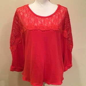 Free People S Red Cotton Lace Oversized Top